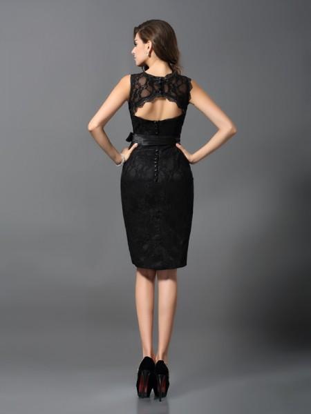Sheath/Column Sleeveless Lace Knee-Length Jewel Satin Cocktail Dresses