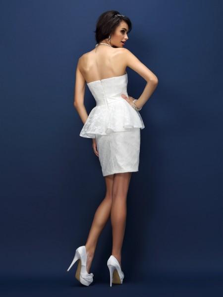 Sheath/Column Sleeveless Lace Bowknot Short/Mini Sweetheart Satin Bridesmaid Dresses