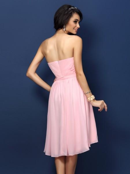 A-Line/Princess Sleeveless Pleats Bowknot Short/Mini Sweetheart Chiffon Bridesmaid Dresses