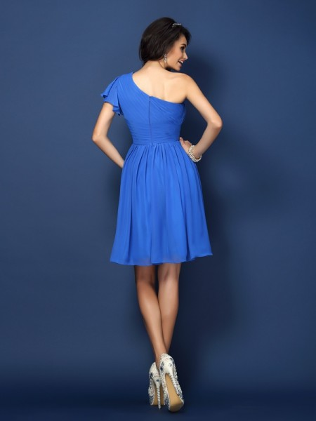 A-Line/Princess Sleeveless Pleats Short/Mini One-Shoulder Chiffon Bridesmaid Dresses