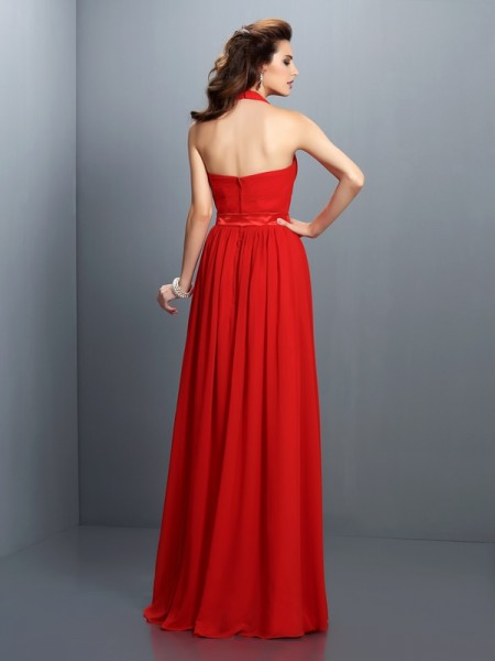 A-Line/Princess Sleeveless Pleats Floor-Length Halter Chiffon Bridesmaid Dresses