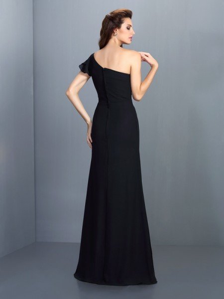 Sheath/Column Sleeveless Pleats Floor-Length One-Shoulder Chiffon Bridesmaid Dresses