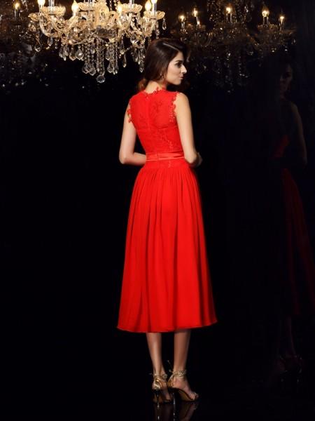 A-Line/Princess Sleeveless Sash/Ribbon/Belt Tea-Length High Neck Chiffon Dresses
