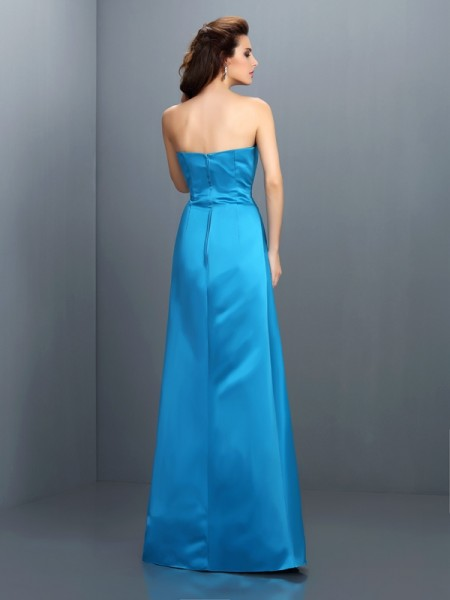 A-Line/Princess Sleeveless Floor-Length Strapless Satin Bridesmaid Dresses