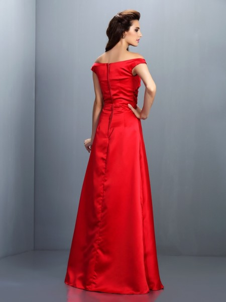 Sheath/Column Sleeveless Floor-Length Off-the-Shoulder Chiffon Bridesmaid Dresses