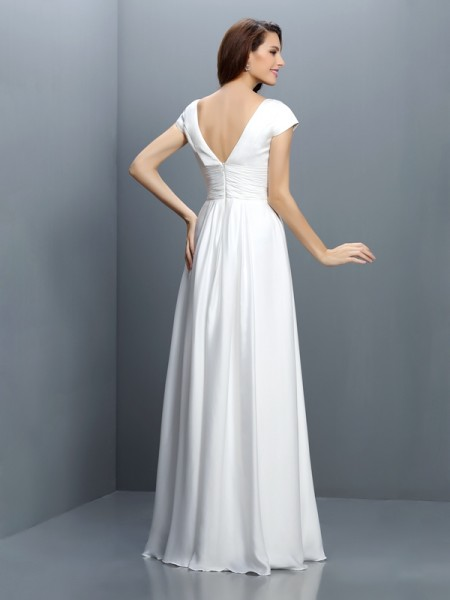 A-Line/Princess Short Sleeves Pleats Floor-Length V-neck Chiffon Bridesmaid Dresses