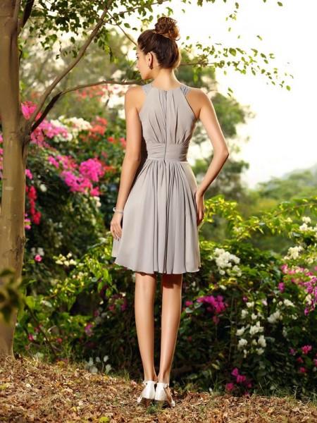 A-Line/Princess Sleeveless Hand-Made Flower Knee-Length Scoop Chiffon Bridesmaid Dresses