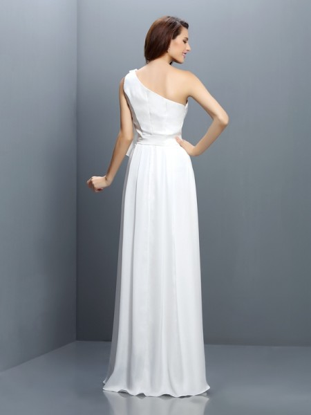 A-Line/Princess Sleeveless Ruffles Floor-Length One-Shoulder Chiffon Bridesmaid Dresses