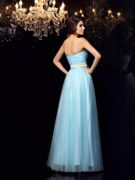 Ball Gown Sleeveless Sash/Ribbon/Belt Floor-Length Strapless Satin Dresses