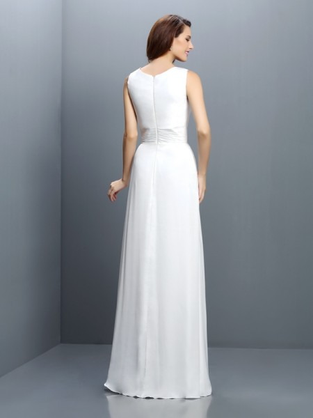 Sheath/Column Sleeveless Floor-Length V-neck Chiffon Bridesmaid Dresses