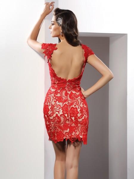 Sheath/Column Sleeveless Lace Short/Mini Scoop Elastic Woven Satin Cocktail Dresses