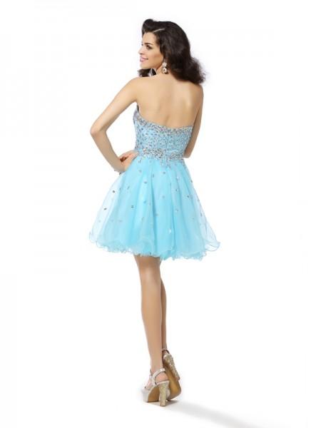 A-Line/Princess Sleeveless Ruffles Short/Mini Sweetheart Organza Cocktail Dresses