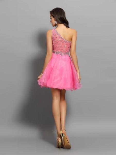 A-Line/Princess Sleeveless Ruffles Short/Mini One-Shoulder Organza Cocktail Dresses
