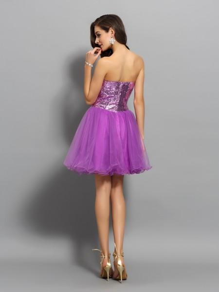 A-Line/Princess Sleeveless Beading Short/Mini Sweetheart Satin Cocktail Dresses