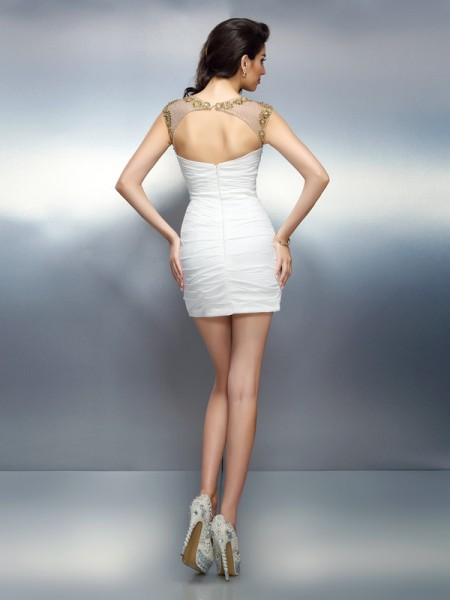 Sheath/Column Sleeveless Beading Short/Mini Bateau Chiffon Cocktail Dresses