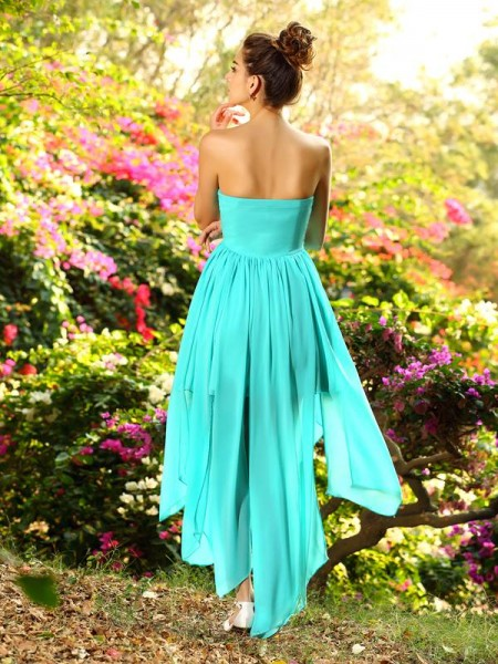 A-Line/Princess Sleeveless Beading Asymmetrical Sweetheart Chiffon Bridesmaid Dresses
