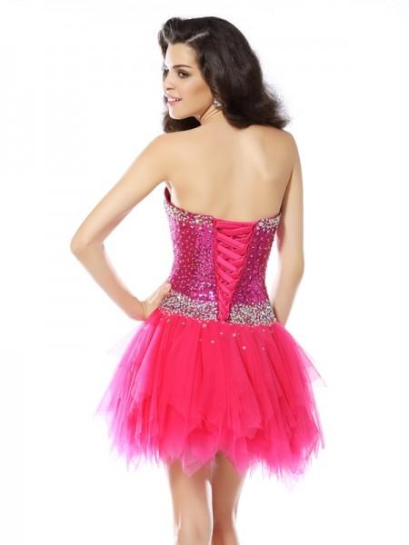 A-Line/Princess Sleeveless Beading Short/Mini Sweetheart Net Cocktail Dresses