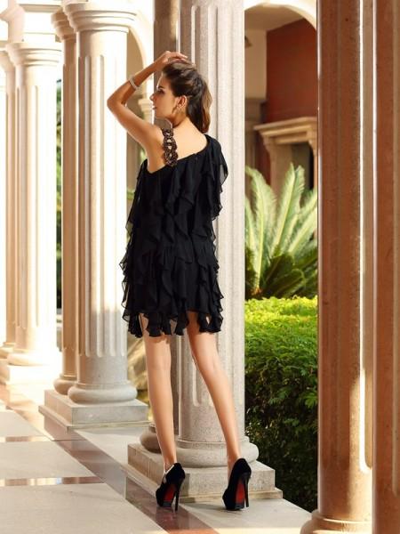 A-Line/Princess Sleeveless Ruffles Short/Mini Chiffon Cocktail Dresses