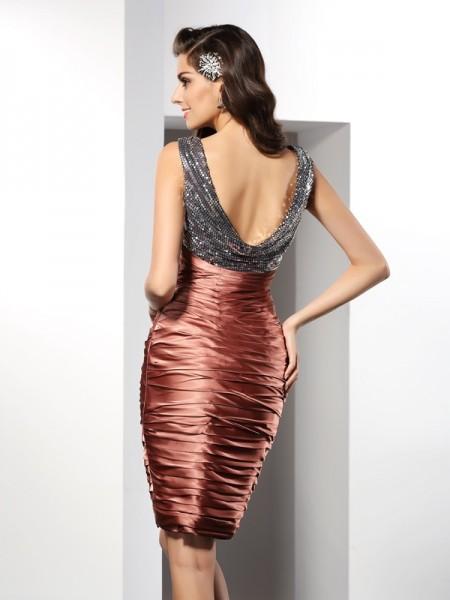 Sheath/Column Sleeveless Knee-Length V-neck Silk like Satin Cocktail Dresses
