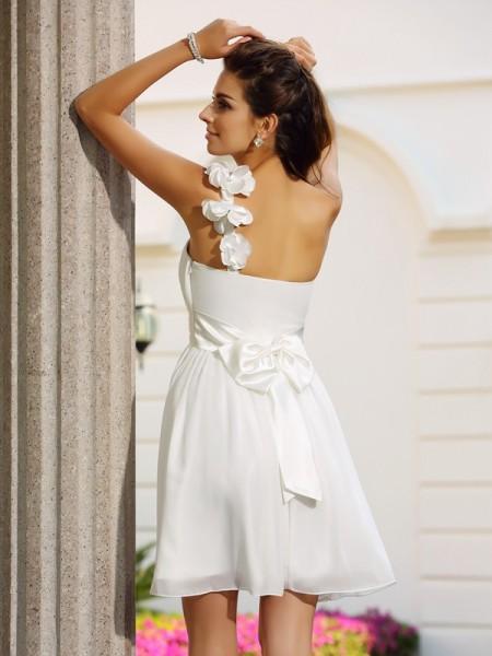 A-Line/Princess Sleeveless Hand-Made Flower Short/Mini One-Shoulder Chiffon Cocktail Dresses