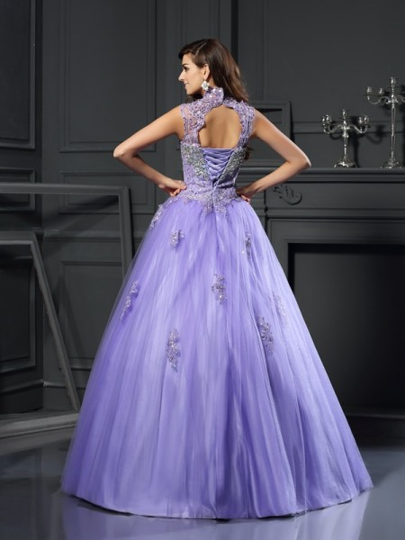 Ball Gown Sleeveless Beading Applique Floor-Length High Neck Net Dresses