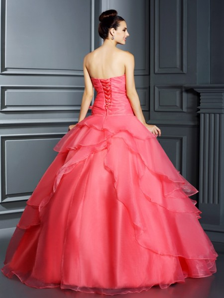 Ball Gown Sleeveless Hand-Made Flower Floor-Length Strapless Organza Dresses