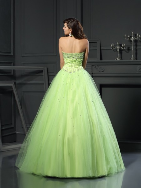 Ball Gown Sleeveless Beading Floor-Length Halter Satin Dresses