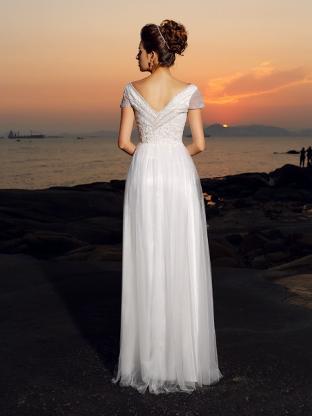A-Line/Princess Short Sleeves Beading Floor-Length Off-the-Shoulder Tulle Wedding Dresses