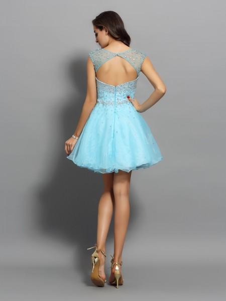 A-Line/Princess Sleeveless Beading Short/Mini Scoop Organza Cocktail Dresses