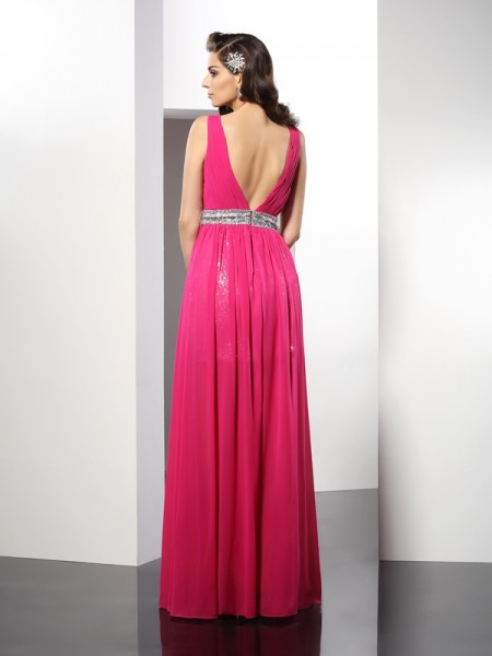 A-Line/Princess Sleeveless Paillette Floor-Length V-neck Chiffon Dresses