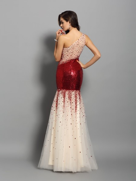Trumpet/Mermaid Sleeveless Floor-Length One-Shoulder Sequins Dresses