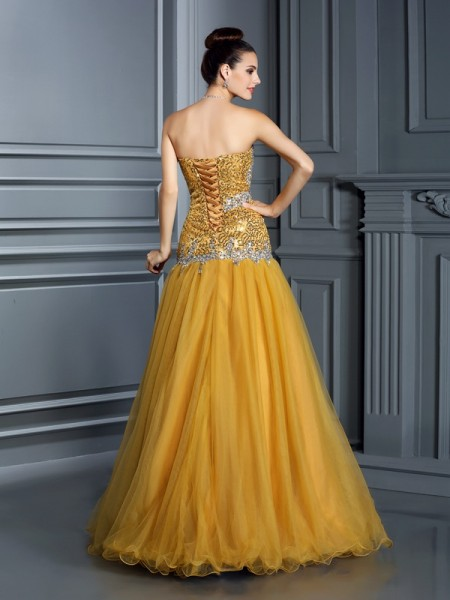 A-Line/Princess Sleeveless Ruffles Floor-Length Sweetheart Satin Dresses