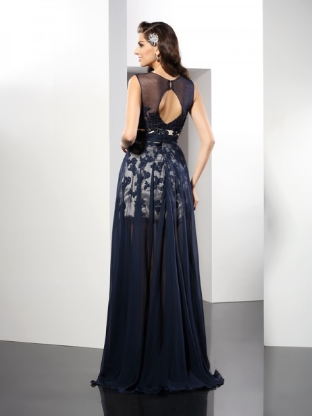 A-Line/Princess Sleeveless Floor-Length Scoop Elastic Woven Satin Dresses