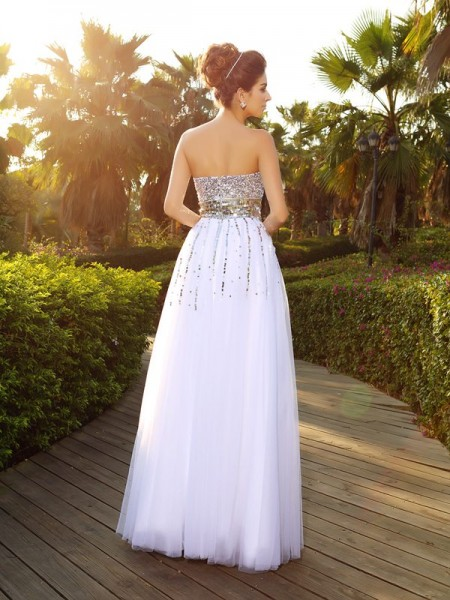 A-Line/Princess Sleeveless Beading Floor-Length Sweetheart Organza Dresses