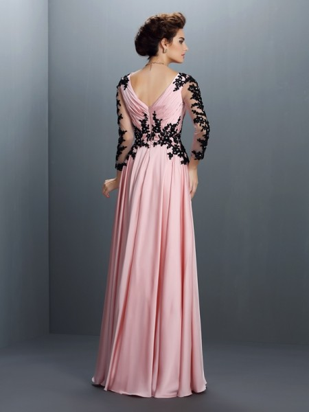 A-Line/Princess 3/4 Sleeves Applique Floor-Length V-neck Chiffon Dresses