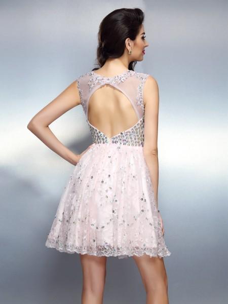 A-Line/Princess Sleeveless Beading Applique Short/Mini Bateau Satin Cocktail Dresses