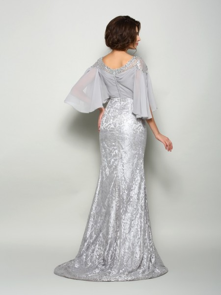 Trumpet/Mermaid 1/2 Sleeves Lace Sweep/Brush Train Scoop Chiffon Mother of the Bride Dresses