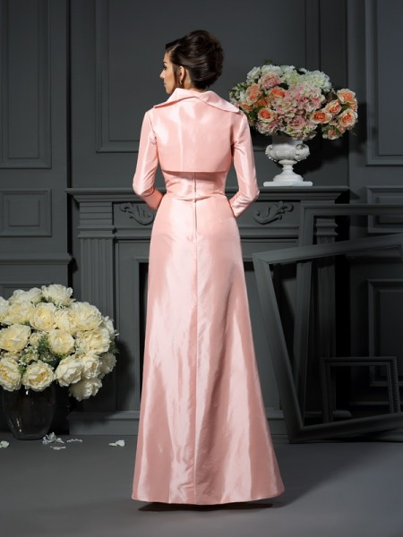 A-Line/Princess Sleeveless Pleats Floor-Length Strapless Taffeta Mother of the Bride Dresses