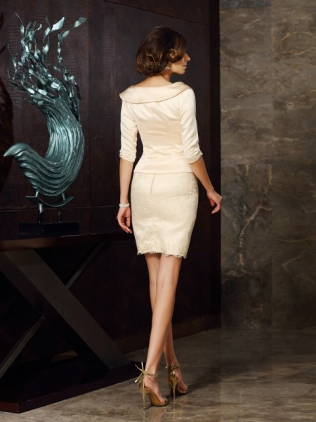 Sheath/Column Sleeveless Applique Short/Mini Strapless Satin Mother of the Bride Dresses