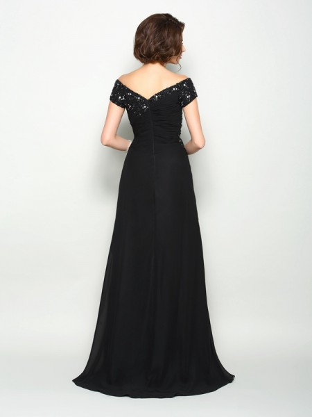 A-Line/Princess Short Sleeves Beading Applique Sweep/Brush Train Off-the-Shoulder Chiffon Mother of the Bride Dresses