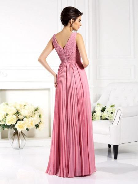 A-Line/Princess Sleeveless Pleats Floor-Length Sweetheart Chiffon Dresses
