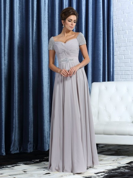 A-Line/Princess Short Sleeves Beading Ankle-Length Sweetheart Chiffon Mother of the Bride Dresses
