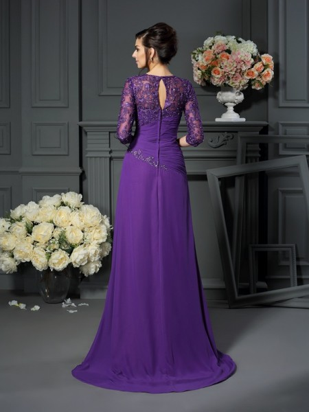 A-Line/Princess 1/2 Sleeves Applique Floor-Length Sweetheart Chiffon Mother of the Bride Dresses