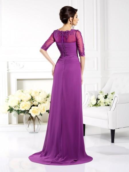 Sheath/Column 1/2 Sleeves Applique Sweep/Brush Train Scoop Chiffon Dresses