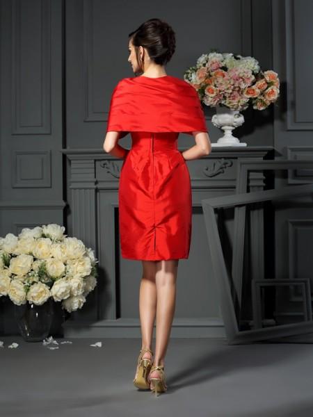 A-Line/Princess Sleeveless Pleats Short/Mini V-neck Taffeta Mother of the Bride Dresses