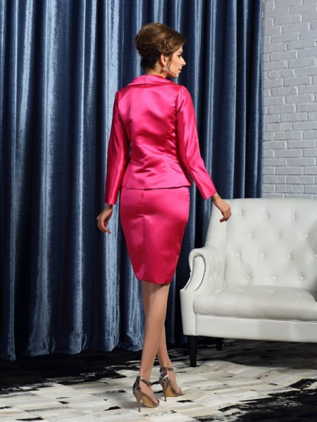 Sheath/Column Sleeveless Knee-Length Square Satin Mother of the Bride Dresses