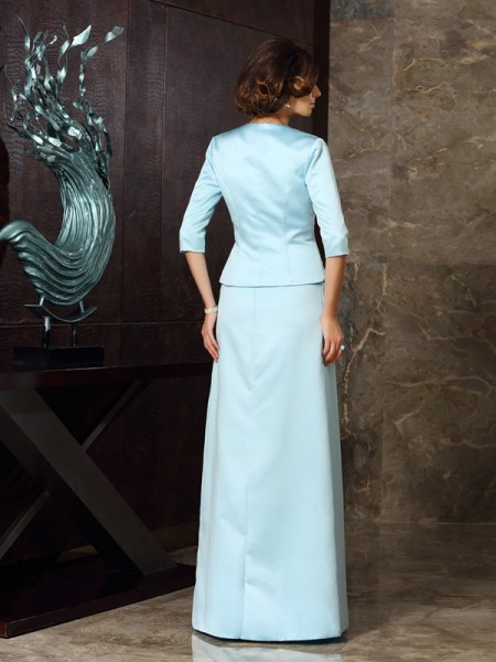 Sheath/Column Sleeveless Floor-Length Strapless Satin Mother of the Bride Dresses