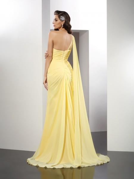A-Line/Princess Sleeveless Beading Floor-Length One-Shoulder Chiffon Dresses