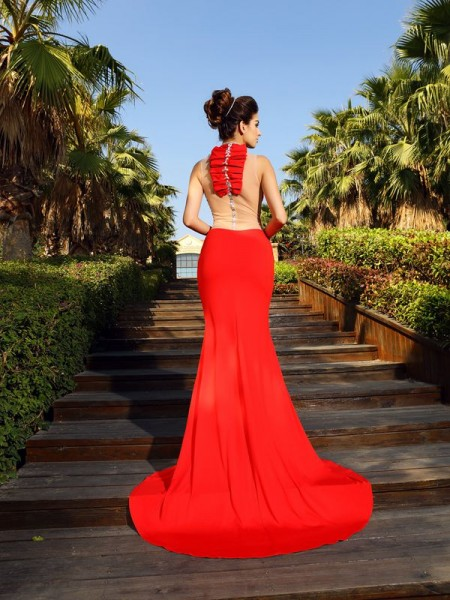 Sheath/Column Sleeveless Beading Court Train High Neck Spandex Dresses