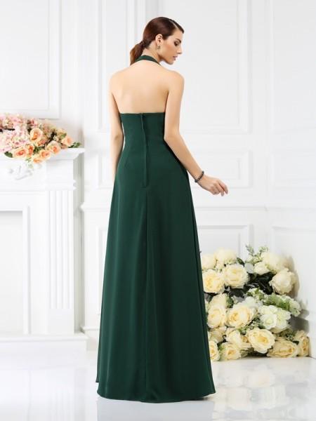 A-Line/Princess Sleeveless Beading Floor-Length Halter Chiffon Bridesmaid Dresses
